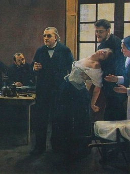 a hysterical female patient during demonstration by Professor Charcot